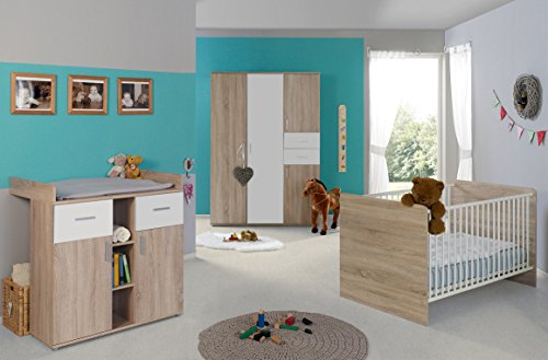 Babyzimmer / Kinderzimmer komplett Set ELISA 3 in Eiche Sonoma Weiß, Komplettset mit grossem 3-türigen Kleiderschrank Babybett Lattenrost Wickelkommode Wickelaufsatz, Made in Germany