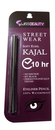 SWISS Beauty Branded Street Wear Soft Khol Kajal JET Black waterproof and smudge proof Super Long Lasting 10 hours  available at amazon for Rs.299
