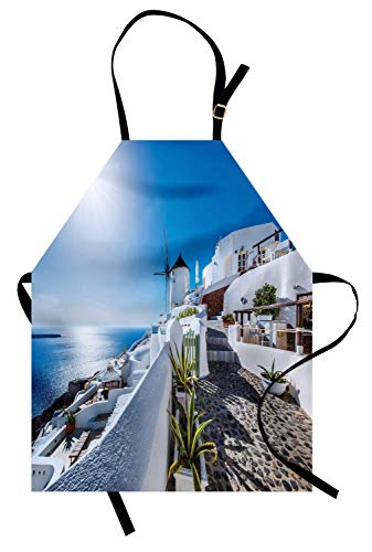 ABAKUHAUS Été Tablier de Cuisine, Oia Village À Santorin, Lavable Réglable en Hauteur Couleurs claires sans décoloration, Bleu Et Blanc