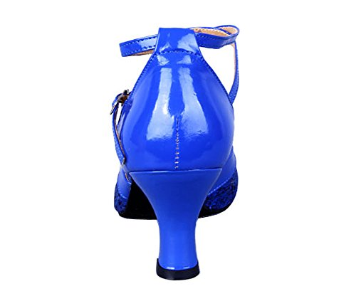Honeystore Damen's Pailletten Runde Toe Latein Tanzschuhe Blau