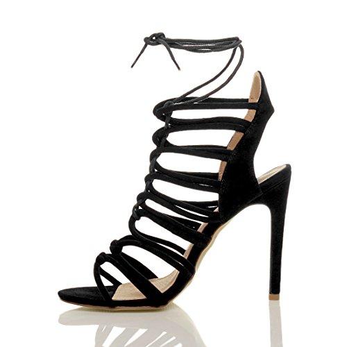 Damen Hoch Absatz Reimchen Ausgeschnitten Schnür-Pumps Sandalen Schuhe Größe Schwarz Wildleder