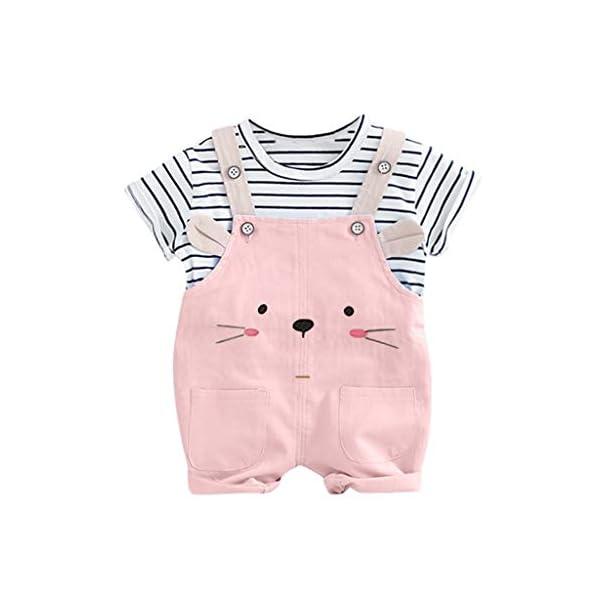 Trisee Niños Trajes Raya Corta Tops y Lindo Oso de Dibujos Animados Imprimir Pantalones Babero 2pcs Set Unisex BabySuits… 1