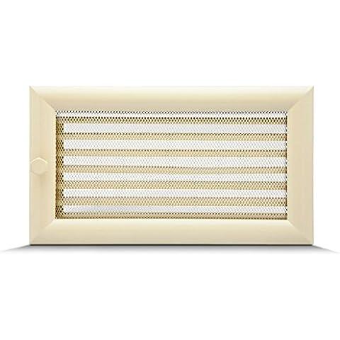 17x30cm Rejilla de lamas Aire rejilla ventilación Chimenea regulable semicircular perfil - acero inoxidable -
