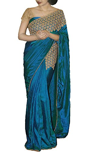 Sarees new collection today low price for Women Party Wear Designer New Offer Sale buy in Turquoise Blue Color Paper Silk Fabric Free Size Ladies Sari