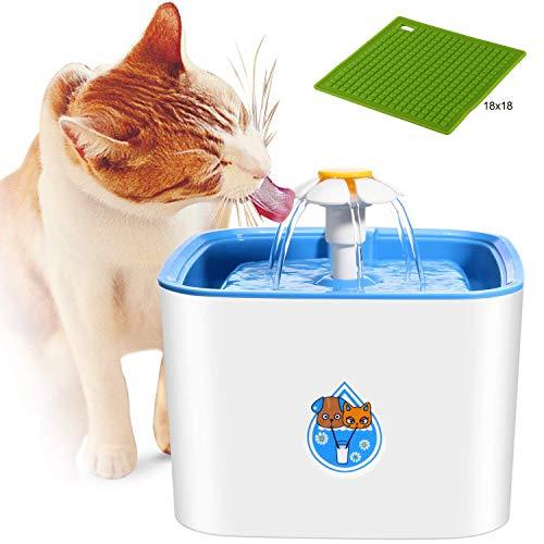 Teammao Haustier Trinkbrunnen 2.5L Automatisch Super Leise Hunde Katze Trinkbrunnen Aktivkohlefilter Wasserspender Vogel Kleine Tiere Pet Water Fountain Sende eine Silikonmatte. (Platz)