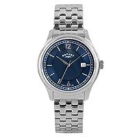 Para hombre giratorio relojes reloj infantil de cuarzo con azul esfera analógica y plateado correa de acero inoxidable de gb00330/05 de Rotary Timepieces