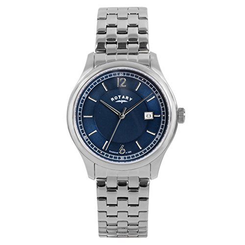 Rotary-Mens-Quartz-Watch-with-Blue-Dial-Analogue-Display-and-Silver-Stainless-Steel-Bracelet-GB0033005