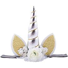 Colorfulworld Unicorn Aro del pelo con Flores Artificiales Accesorio de Pelo de Fiesta Diadema unicornio para Niñas Unicorn headbands (Silver)