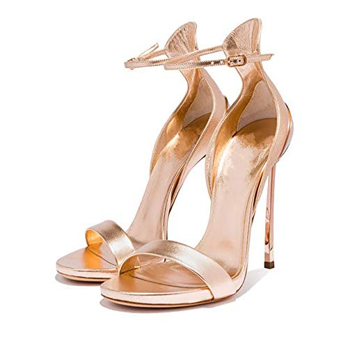 SStiletto High Heel Damenschuhe Mode Sandalen Eisen mit Tasche mit Größe (8 cm oder mehr) lackiert Schnalle einfarbig Champagner (Champagner Kommode)