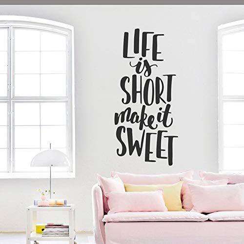 Ajcwhml Das Leben ist kurz, Lassen Sie süße Zitate Wandaufkleber Familie Zitate Wandtattoos für Familienzimmer Wohnzimmer Liebe Wort Kunst Wandbilder