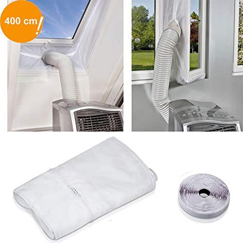 JTENG Fensterabdichtung Für Mobile Klimageräte und Abluft-Wäschetrockner, Passend zu Jedem Klimagerät und Allen Schlauchgrößen - Umlaufmaß bis 400 cm