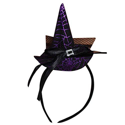 Uzinb Halloween-Hexe-Hut Stirnband Stern Spinnennetz Cap Haarband Cosplay-Kostüm-Partei-Haar-Band - Haar Kostüm Hüte