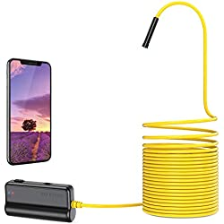 DEPSTECH HD 5.0MP WiFi Endoscope 16 inch Distance Focale, Caméra d'inspection Semi-rigide Serpent 1944P avec 2600 mAh Batterie avec iOS/Android/iPad/Mac/PC/Laptop - 5M