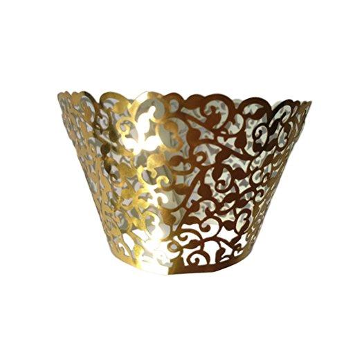 PIXNOR esegue il wrapping di 120pcs Cupcake Wrapper Vine filigrana pizzo Coppa di cottura Liner matrimonio torta del partito Decoartion (giallo oro)