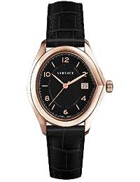 Versace 20Q80D009 S009 - Reloj analógico de cuarzo para hombre, correa de cuero color negro