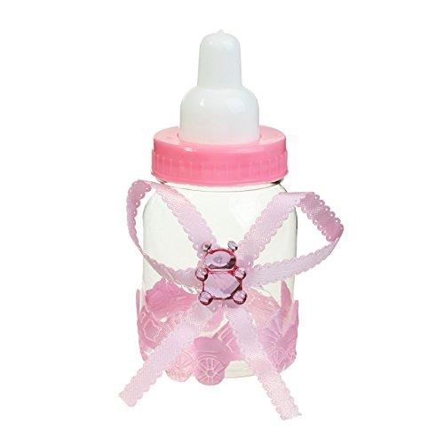 vlovelife 12Feeder Stil Baby Pink Gifts Favor Boxen niedliches Kunststoff Baby Füttern Candy Flasche für Baby Dusche Party Dekorationen begünstigt, und Geschenke Box, plastik, babyrosa, 9cm x 4cm