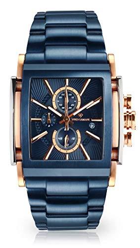 YVES CAMANI ESCAUT Herren-Armbanduhr Chronograph Analog Quarz Edelstahl-Gehäuse Edelstahlband (Edelstahl - Blau)