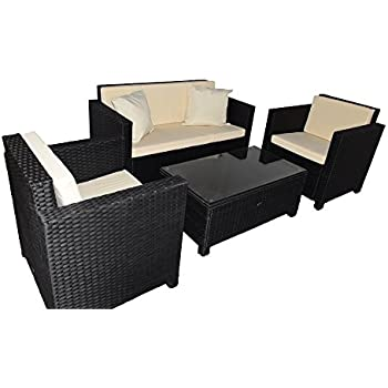 gartenm bel gartenset sitzgruppe rattan cannes schwarz. Black Bedroom Furniture Sets. Home Design Ideas