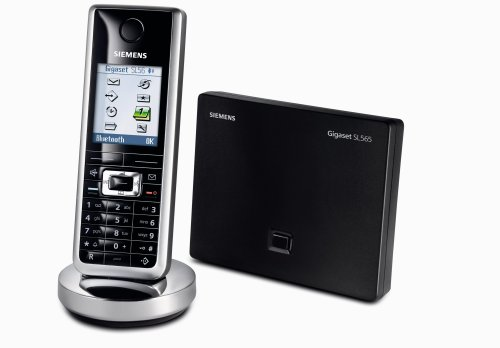 Siemens Gigaset SL 565, schnurloses DECT Telefon mit Anrufbeantworter und integrierter Bluetooth-Funktionalität, lackschwarz