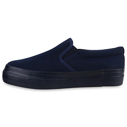 Damen Slip-ons Glitzer Plateau Slipper Metallic Trend Schuhe | Gr. 36-41 | Aktuelle Kollektion Blau Blau