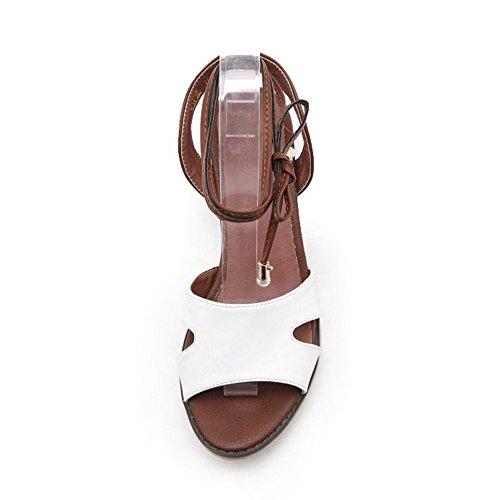 COOLCEPT Femme Mode Lacets Sandales Bout Ouvert Talon Bloc Slingback Chaussures Blanc