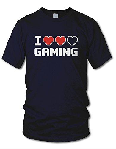 shirtloge - I LOVE GAMING - KULT - Gamer T-Shirt - in verschiedenen Farben - Größe S - XXL Navy