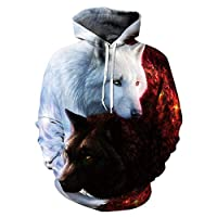 Mclochy Couples 3D Printed Black White Wolf Hoodies Sweatshirt for Men Women (Asia XXL/3XL = US XL, Taichi Wolf)