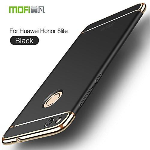 HuaWei Honor 8 Lite Hülle - Meimeiwu Elektroplattierter Kappen mit einer Matter Oberfläche 3-Teilige Styliche Extra Dünne Harte Schutzhülle Case für HuaWei Honor 8 Lite - Silber Schwarz
