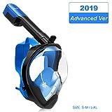 MOVTOTOP Tauchmaske Vollmaske Schnorchelmaske mit 180°Sichtfeld und Kamerahaltung, Anti-Fog und Anti (Blu-L/XL)