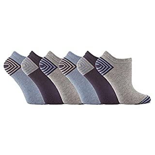 Jennifer Anderton - 6 Pack Ladies Cute Colourful Patterned Cotton No Show Low Cut Ankle Trainer Socks (4-8 uk, TL34)