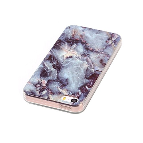iPhone Case Cover Pour iPhone 5 & 5s & SE Marbling noir motif Soft TPU étui de protection arrière ( SKU : Ip5g1496a ) Ip5g1496b