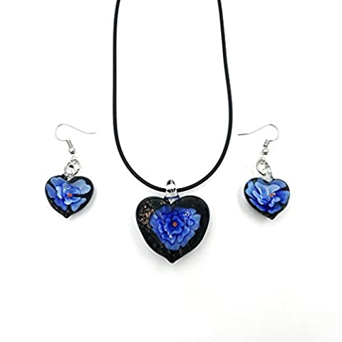 Skyllc® Coeur Rich Style de ligne Murano Ensemble de collier pendentif Lampwork perles de verre de Murano et boucles d'oreilles