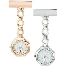 SEWOR Unisex Nurses & Doctor Octagon Hanging Pocket Watch Rose Gold & Sliver 2pcs With Brand Leather Gift Box