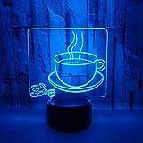 Creativo 3D Tazza di Caffè Luce Notturna 7 Colori Mutevoli USB Potere Toccare Cambiare Illusione Ottica Lampada Arredamento Lampada LED Lampada da Tavolo Bambini Compleanno Natale Regalo