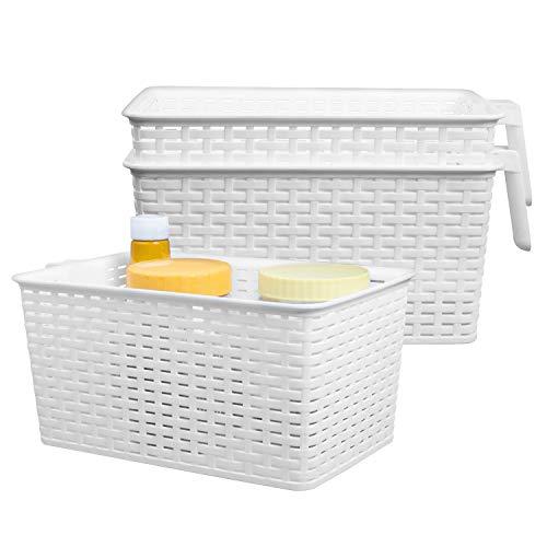 Kühlschrank Aufbewahrungskorb (3 Stück) - Kunststoff Organizer Aufbewahrungs Korb mit Henkel für Speisekammer, Küchen, Büro, Schrank, Regalen (L 33 x W 19.5 x H 14.5 cm) -