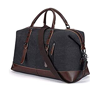Aizbo® Canvas Holdall Travel Carry On Duffel Bags Overnight Weekend Satchel Totes Bag Handbags for Men and Women(Black)