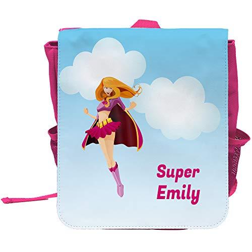 Kinder-Rucksack mit Namen Emily und schönem Superheldinnen-Motiv und Text - Super Emily - für Mädchen