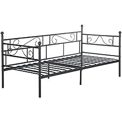 EGGREE Tagesbett Bettsofa Schlafsofa Einzelbett Metallbett Jugendbett Kinderbett Gästebett Bett Sofa 90x190cm Schwarz