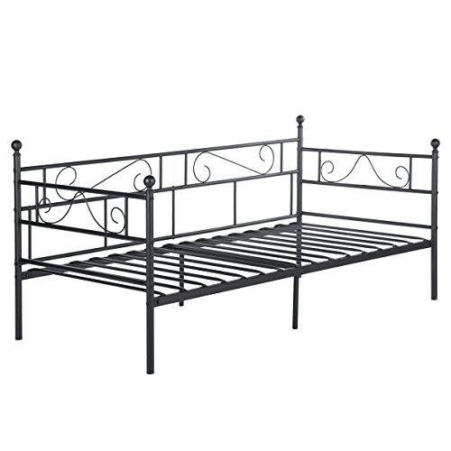 EGGREE Tagesbett Bettsofa Schlafsofa Einzelbett Metallbett Jugendbett Kinderbett Gästebett Bett Sofa 90x190cm Schwarz -