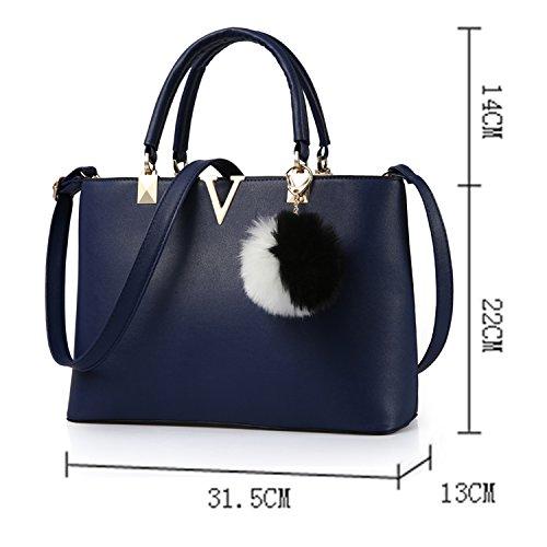Young & Ming V Logo Damen Handtasche Schultertaschen Umhängetaschen mit Mutil interne Tasche Blau