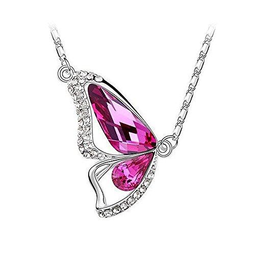 Halskette Damen Schmetterling Zirkonia Kristall Strass Swarovski Elements 18KGP Anhänger Butterfly pink