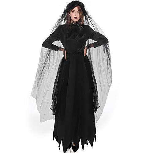 Women's Dark Kostüm Lady - BERTHACC Hexe Kostüme Damen Halloween Spitze Langes Kleider Mit Kapuze Zauberin Zip Cosplay Kostüm Fasching Karneval Festival Dark Lady Verkleidung,Schwarz,XL