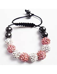 Children Baby Pink & Silver Kids Shamballa Bracelet Black Cord Clay Crystal Disco Ball