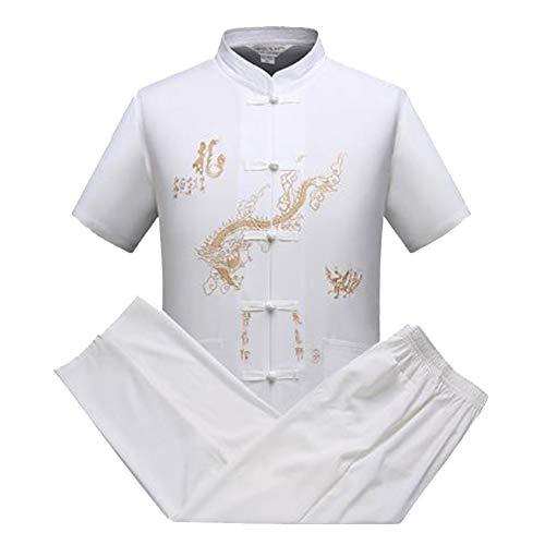 Kung Fu Uniform Tai Chi Kampfkunst Kleidung Wushu Anzug Trainingsanzug Tops und Hose Weiß L