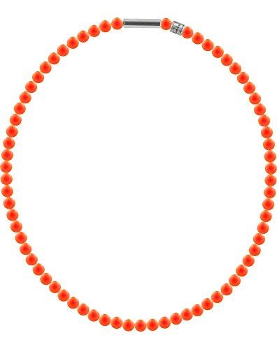 Perlenkette Mini mit original Swarovski ® Perlen, Kettenlänge:45cm, Farbe:neon orange Pearl