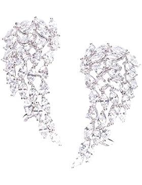 Happiness Boutique Damen Ear Crawler Ohrringe in Silber | Ohrklemmen Zirkon Engelsflügel Weißgold Plattiert