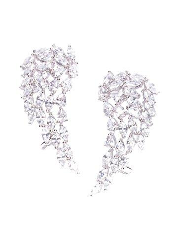Happiness Boutique Orecchini in Argento con Piuma e Cristallo | Ear Cuff Statement con Zirconi Bianchi Placcati Oro Bijoux