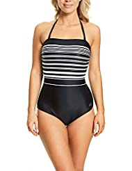 Zoggs Women's Monochrome Strapless Halter Neck Eco Fabric One Piece Swimsuit