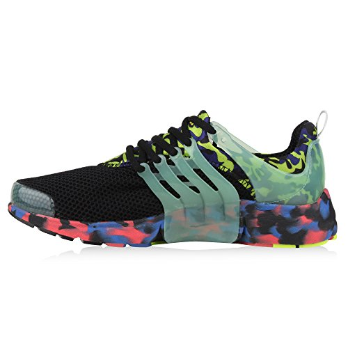 Herren Laufschuhe Sneakers Runners Sportschuhe Lack Schwarz Grün Camiri