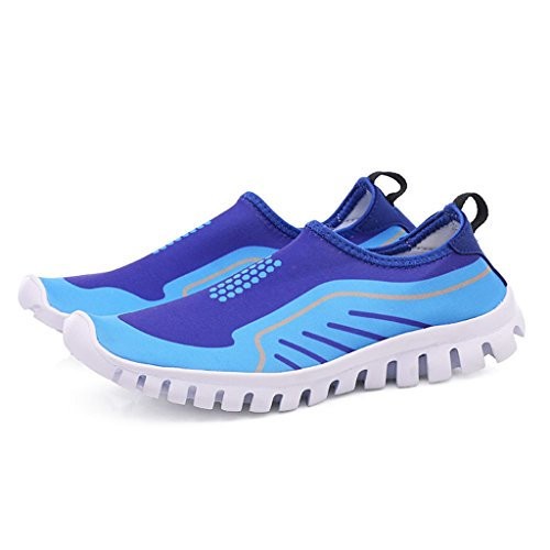 SGoodshoes Badeschuhe WasserSchuhe AquaSchuhe Schwimmschuh Strandschuhe Slip on Schuhe Freizeit Sportschuhe Wanderschuhe Schnell Trocknend für Damen Herren Kinder Blau